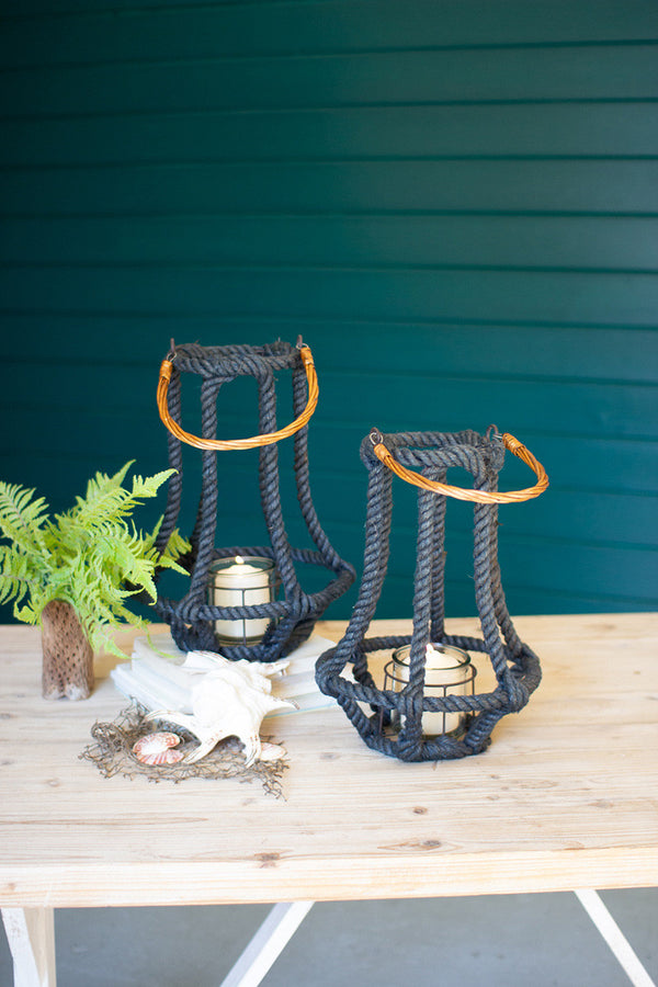Set Of 2 Slate Blue Jute & Wire Lanterns With Glass Inserts