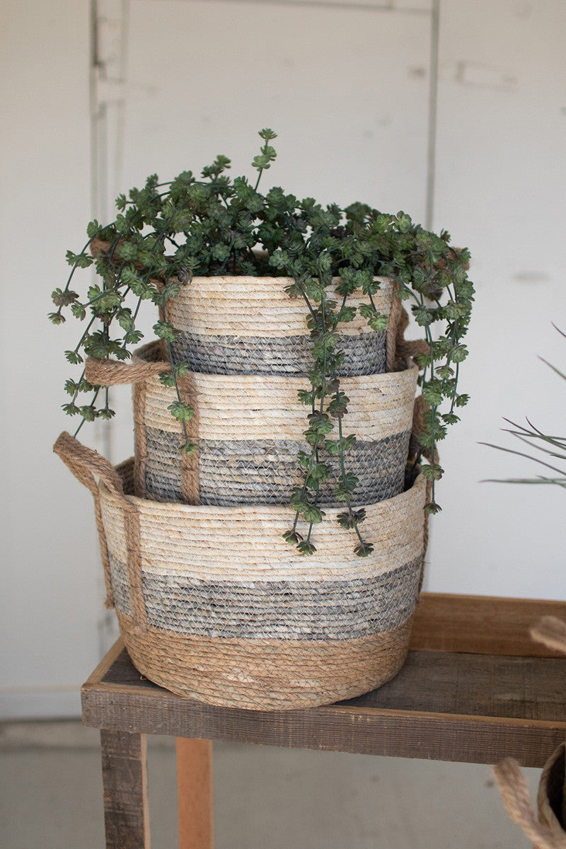 Set Of 3 Round Rush Baskets  -  Grey
