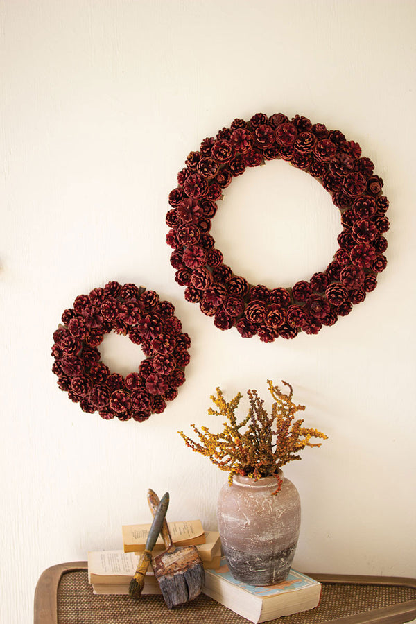 Set Of 2 Pinecone Christmas Wreath - Red