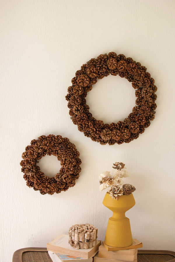Set Of 2 Pinecone Christmas Wreath - Natural