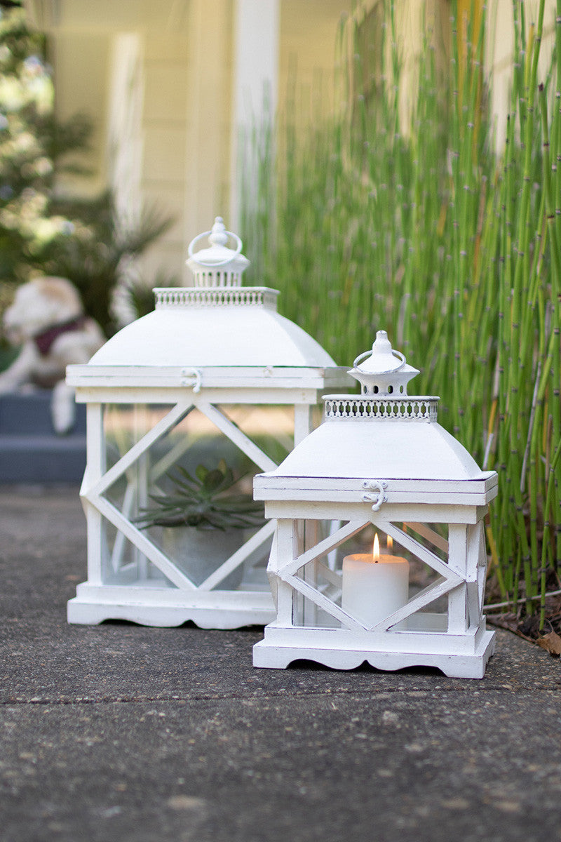 Set Of 2 Rustic White Wooden Lanterns