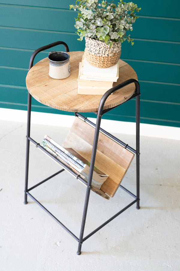 Wood & Rustic Metal Side Table With Magazine Rack