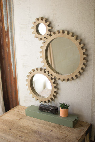 Set Of 3 Wooden Gears Mirrors