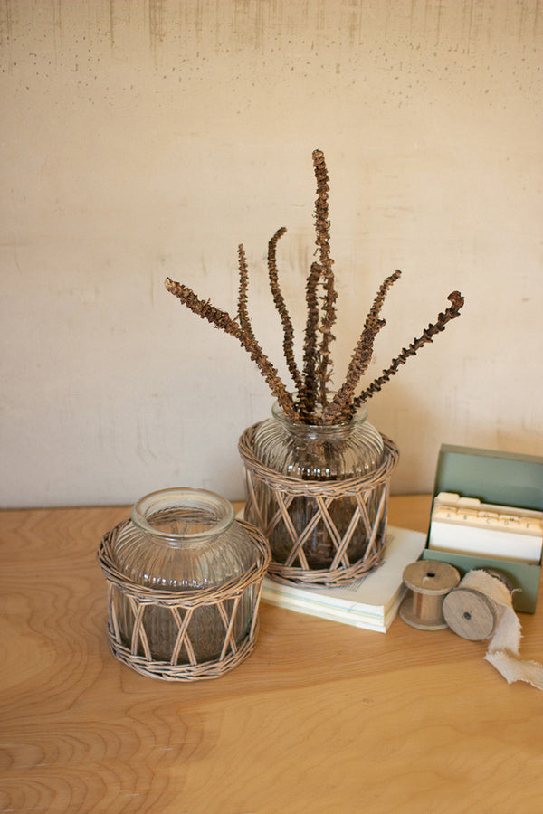 Set Of 2 Wicker Wrapped Glass Vases
