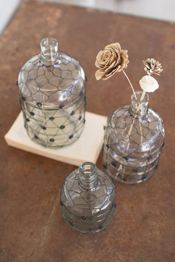 Set Of 3 Wire Wrapped Clear Glass Jugs