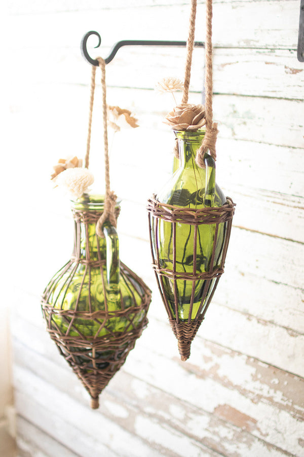 Set Of 2 Hanging Green Glass & Wicker Wrapped Bud Vases