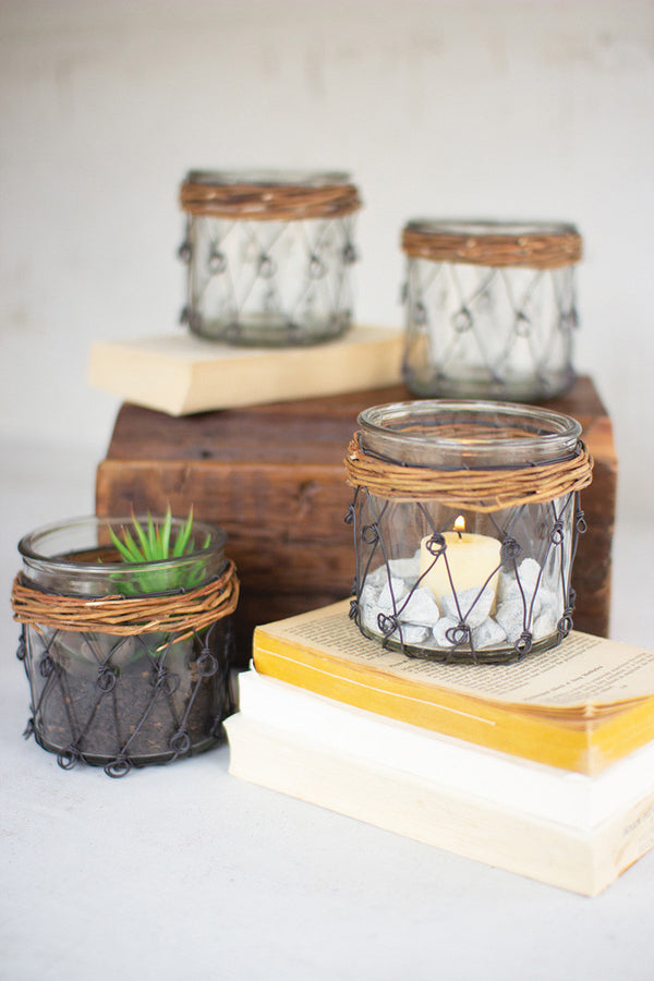 Set Of 6 Wicker & Wire Wrapped Glass Votives
