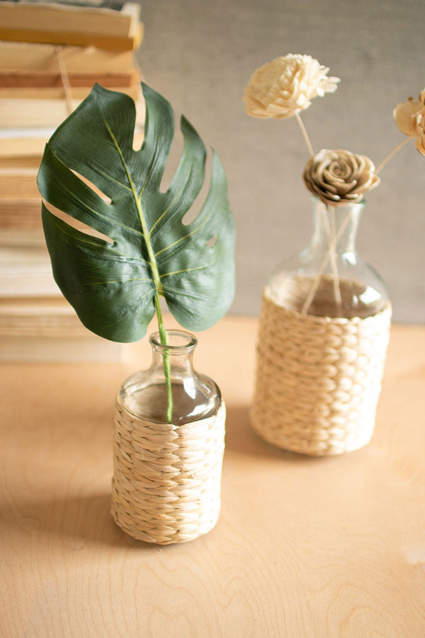 Set Of 2 Seagrass Wrapped Tall Vases