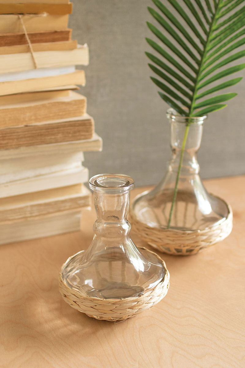 Set Of 2 Seagrass Wrapped Flaired Vases