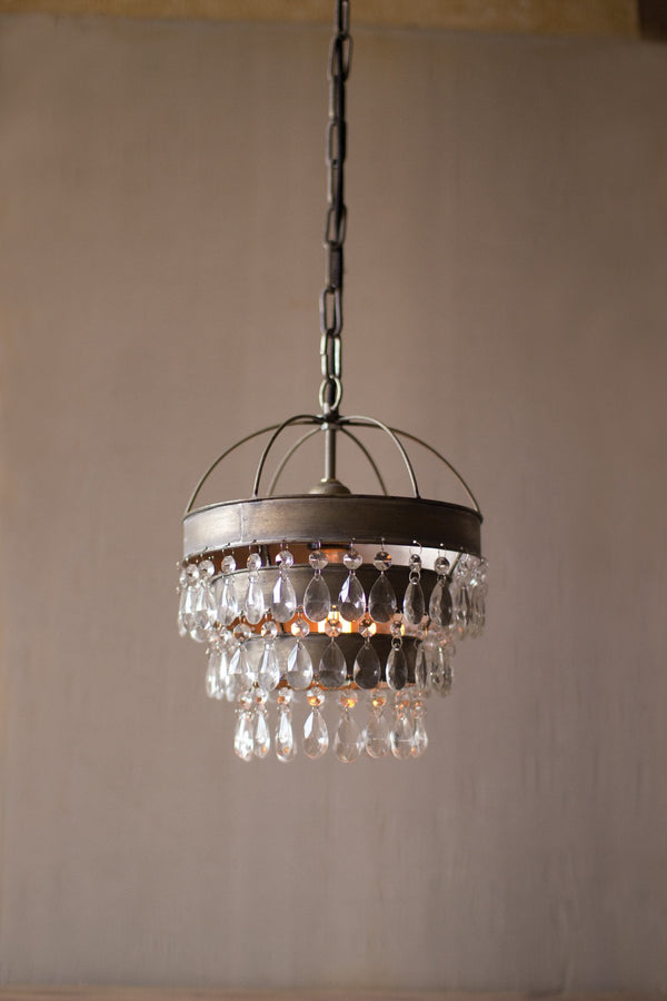 Pendant Lamp With Layered Shade & Hanging Glass Gems