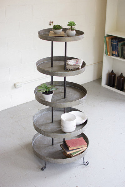5 Tiered Round Metal Display Tower