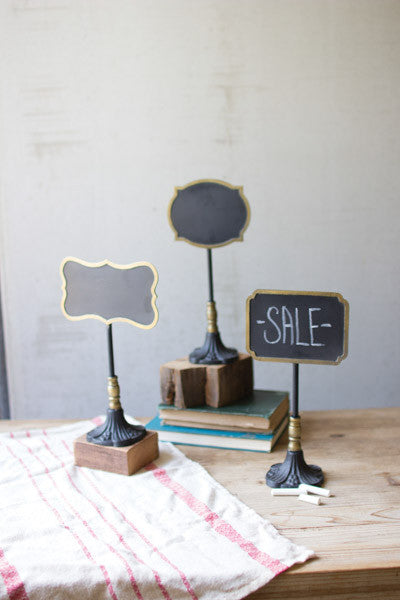 Set Of 3 Chalk Boards On Stands