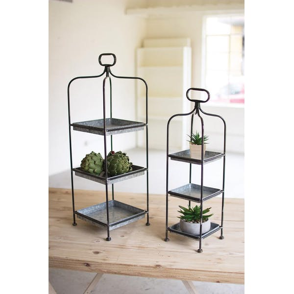 Set Of 2 Tall Metal Display Stands With Galvanized Trays