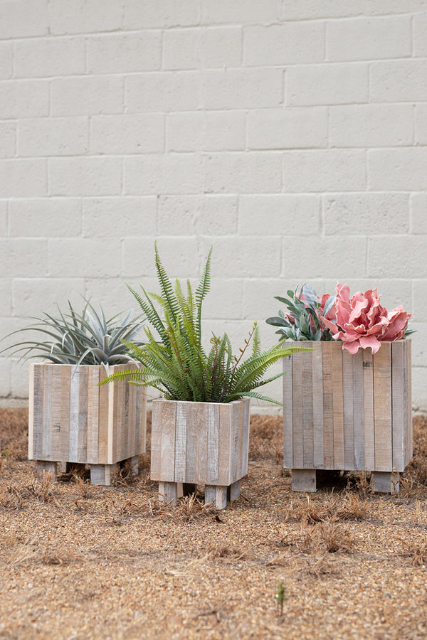 Set Of 3 White Washed Recycled Wood Square Planters