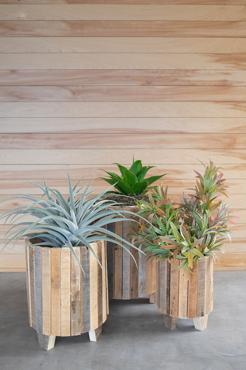 Set Of 3 Natural Recycled Wood Round Planters