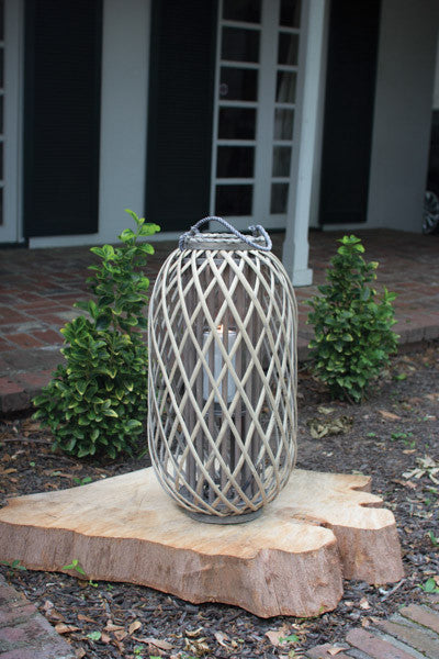 Grey Willow Lantern With Glass - Large