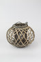 Low Round Grey Willow Lantern With Glass - Small