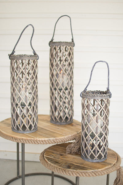 Set of 3 Willow Lanterns With Glass - Grey