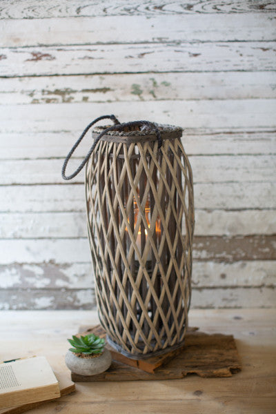 Tall Oval Grey Willow Lantern - Medium