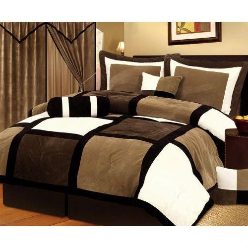 Queen Size 7 Piece Patchwork Comforter Set In Brown White Black