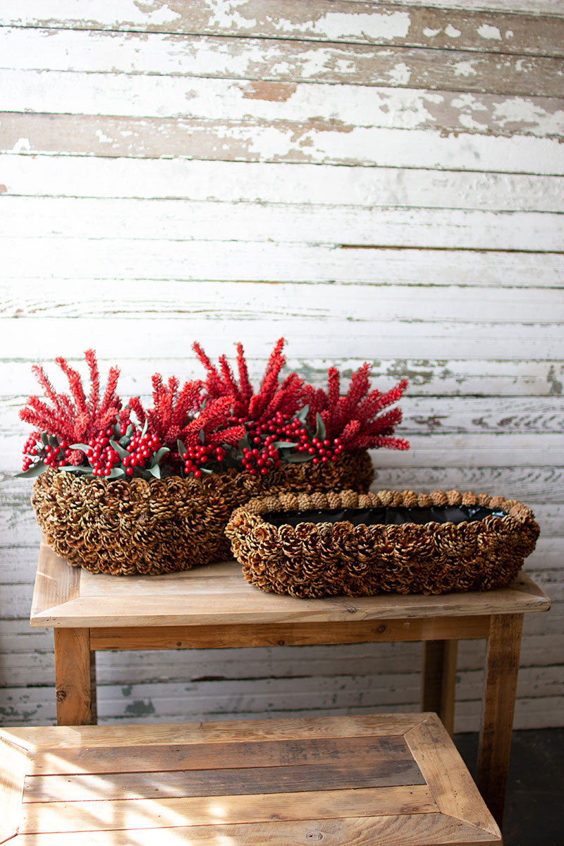 Set Of 2 Low Oval Pinecone Planters