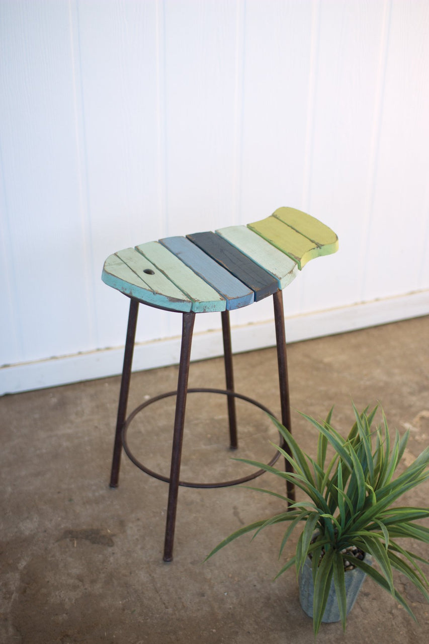Painted Wood & Metal Fish Counter Stool