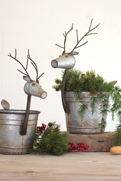 Set Of 2 Metal Deer Planters