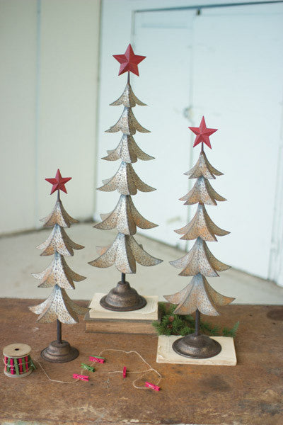 Set Of 3 Metal Trees With Red Star