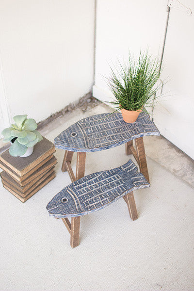 Set Of 2 Wooden Fish Stools