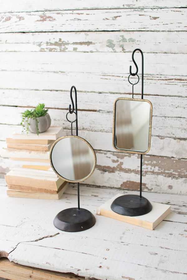 Set of 2 Table Top Metal Mirrors