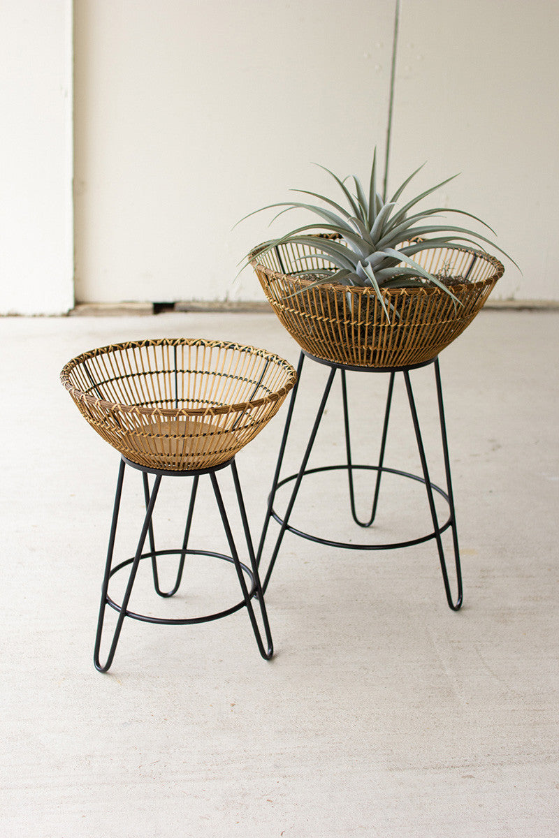 Set Of 2 Round Bamboo Baskets On Metal Stands