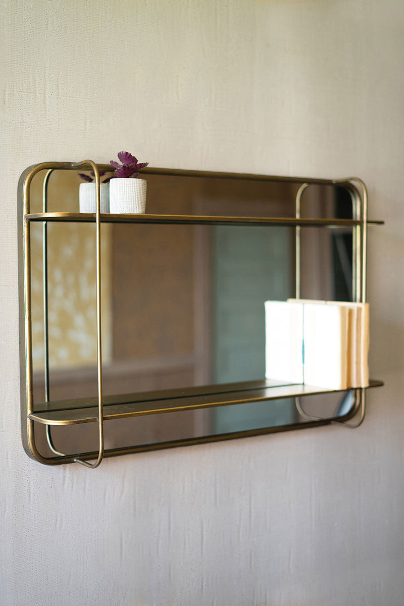 Metal Mirror With Shelf