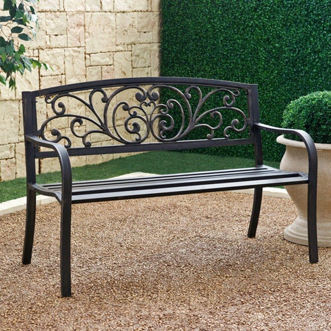 Outdoor Garden Bench With Slatted Seat & Rustic Metal Finish