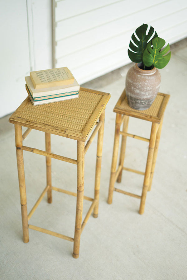 Set Of Two Nesting Bamboo Pedestals