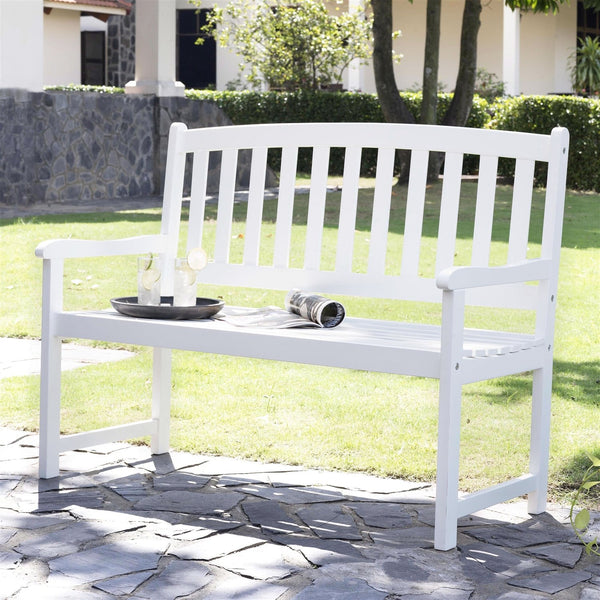5-FT Wood Garden Bench With Curved Slat Back & Armrests In White