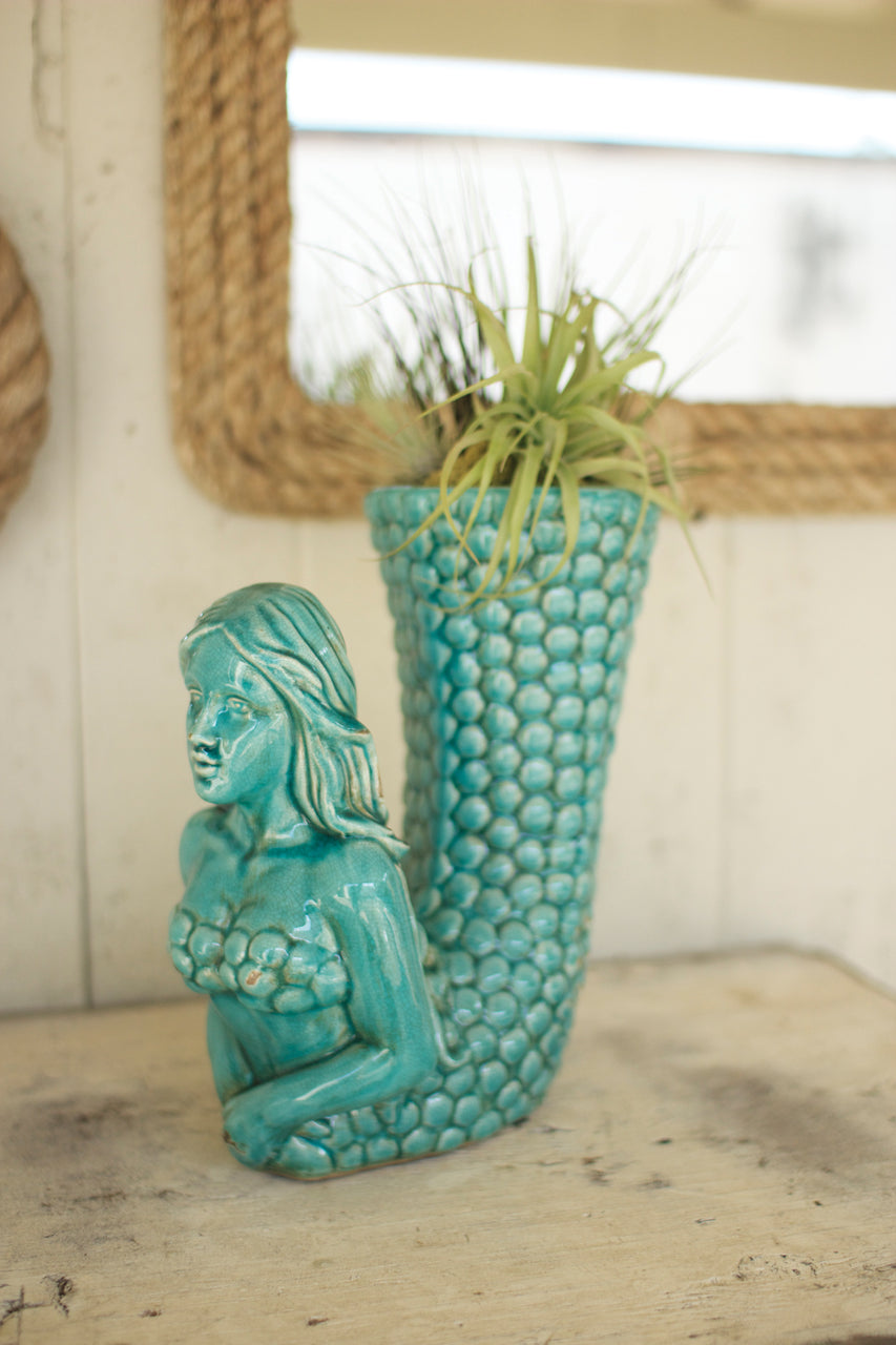 Turquoise Ceramic Mermaid Vase