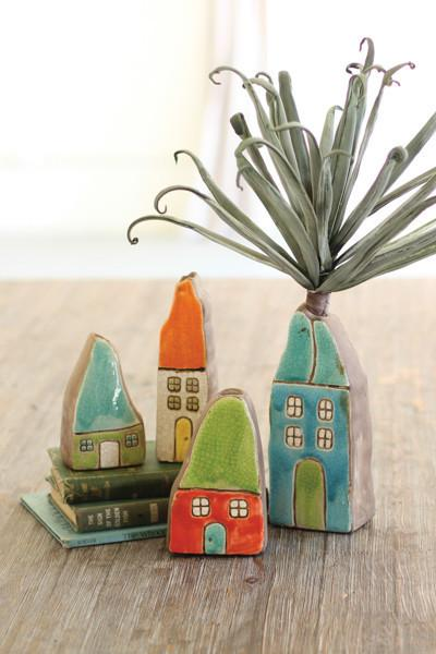 Set Of 4 Colorful Ceramic House Bud Vases
