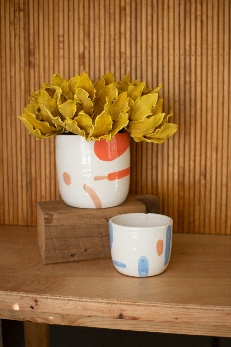 Set Of 2 Multi-Color Hand Painted Flower Pots