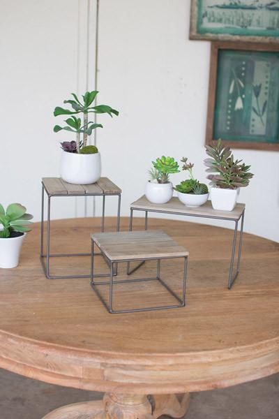 Set Of 3 Wood & Metal Table Top Risers