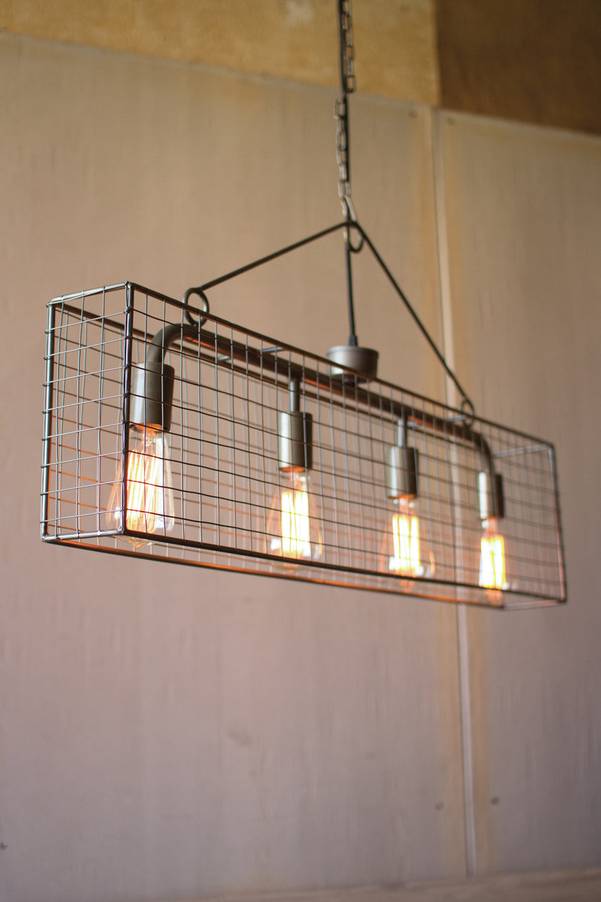 4 Bulb Wire Mesh Horizontal Pendant Light