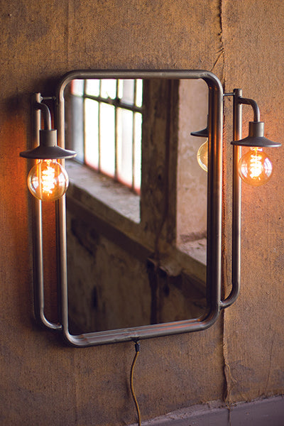 Wall Mirror With Two Lights