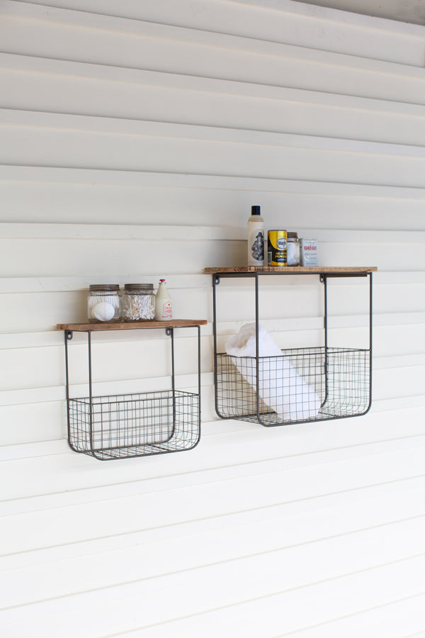 Set of 2 Wire Basket Shelves With Recycled Wood Tops
