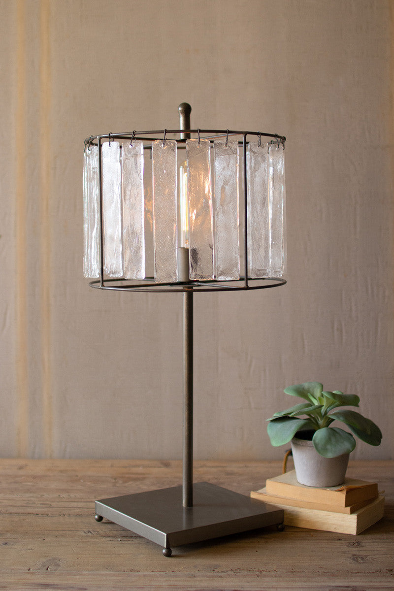 Glass Chimes & Raw Metal Table Lamp