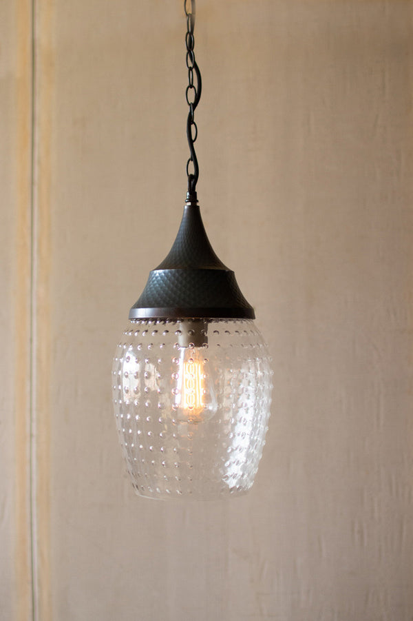 Teardrop Glass Pendant Light With Metal Cap