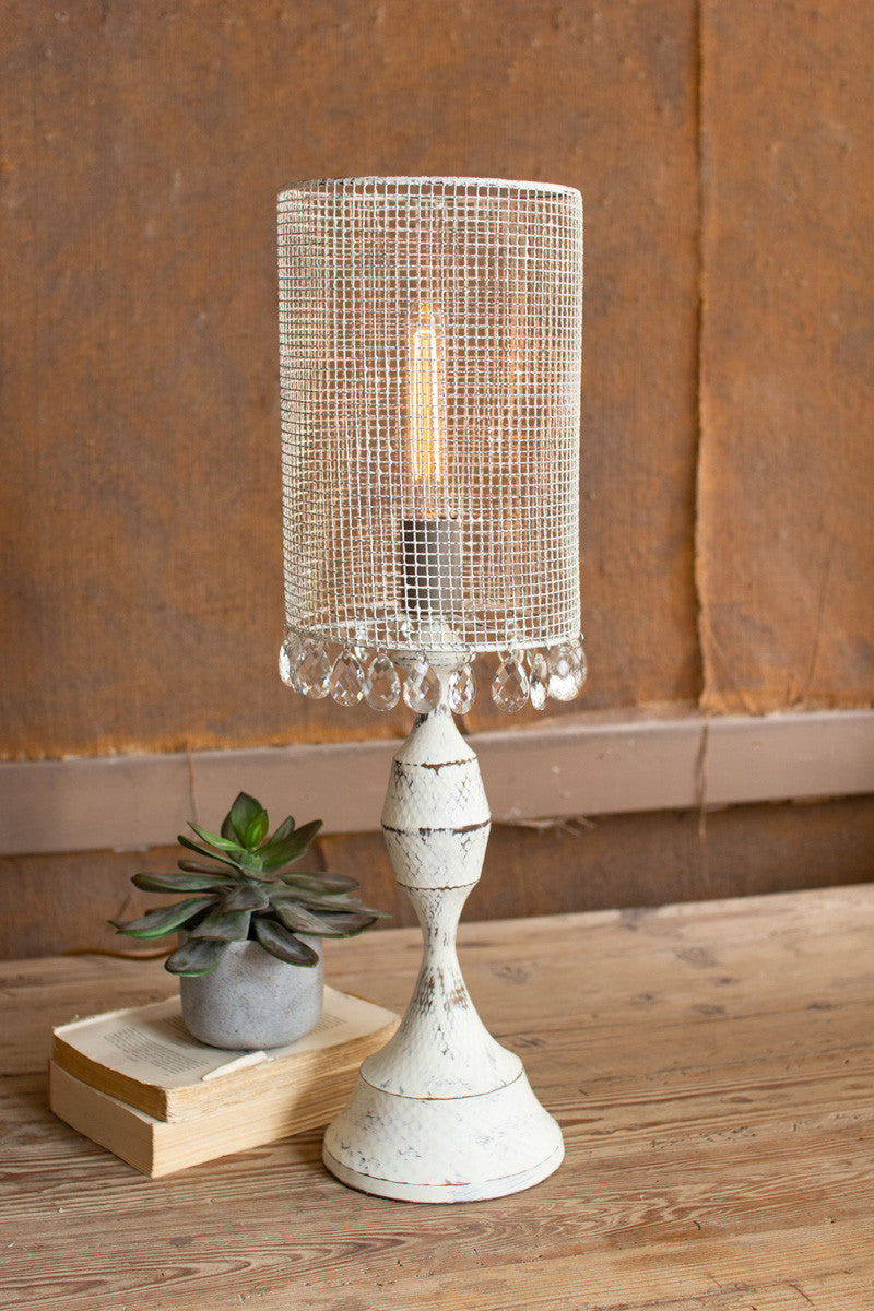 Antique White Tabletop Lamp With Wire Mesh Shade & Gems