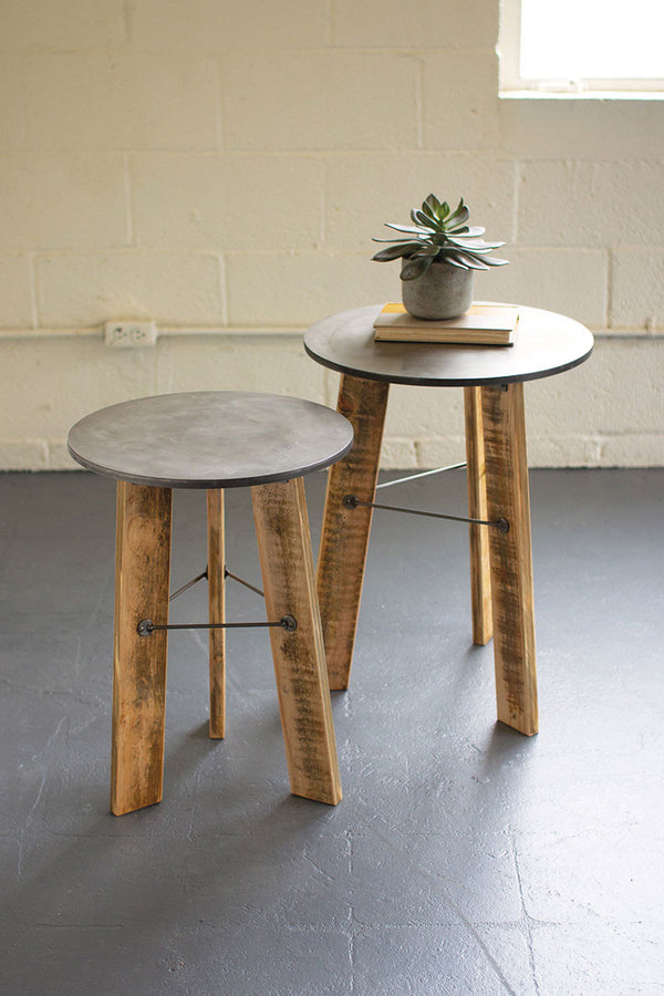 Set Of 2 Round Side Tables With Metal Top & Recycled Wooden Legs