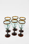 Set Of 6 8oz Wine Glasses With Amber Rim