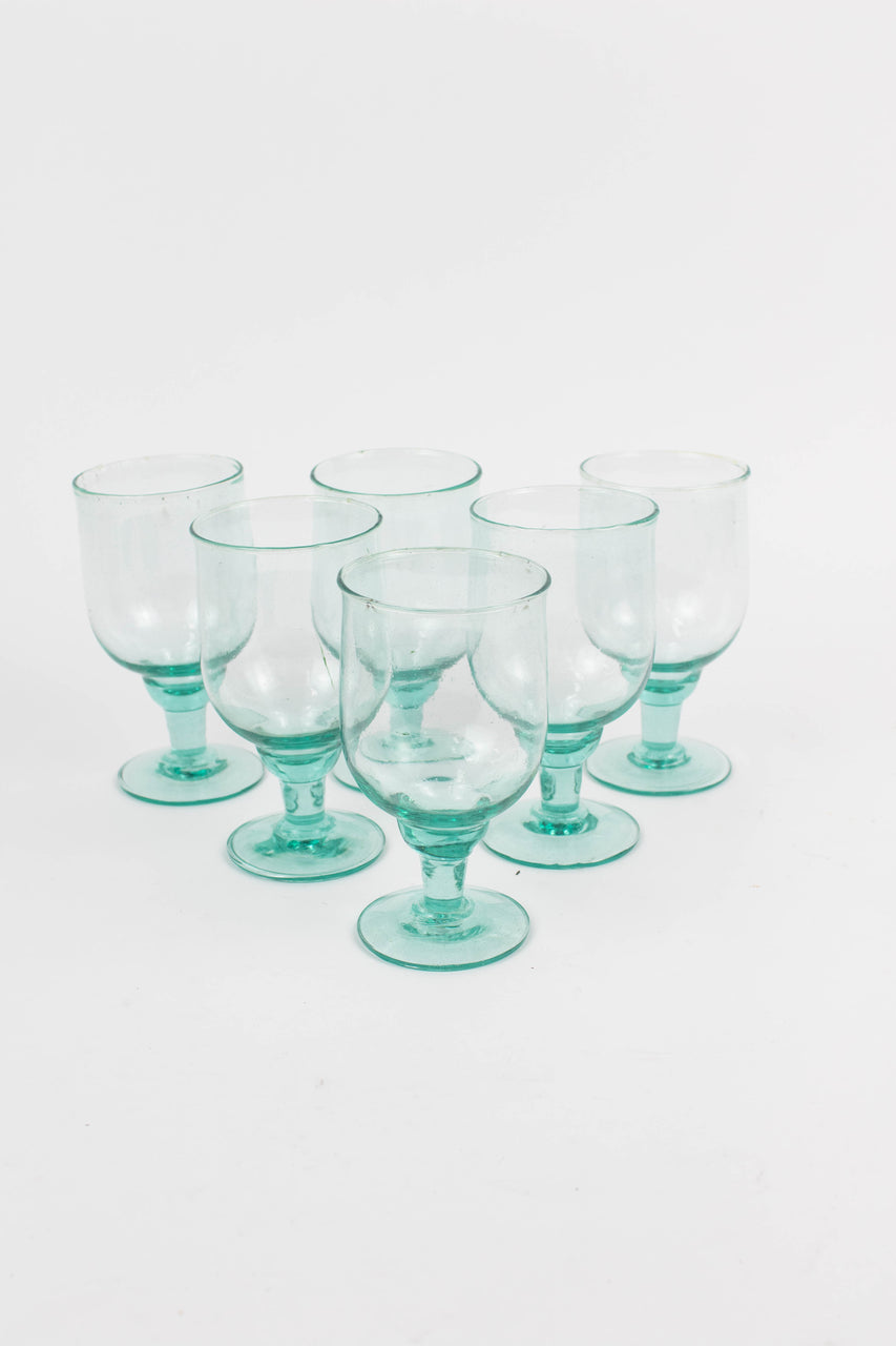 Set Of 6 Large Recycled Water Goblets
