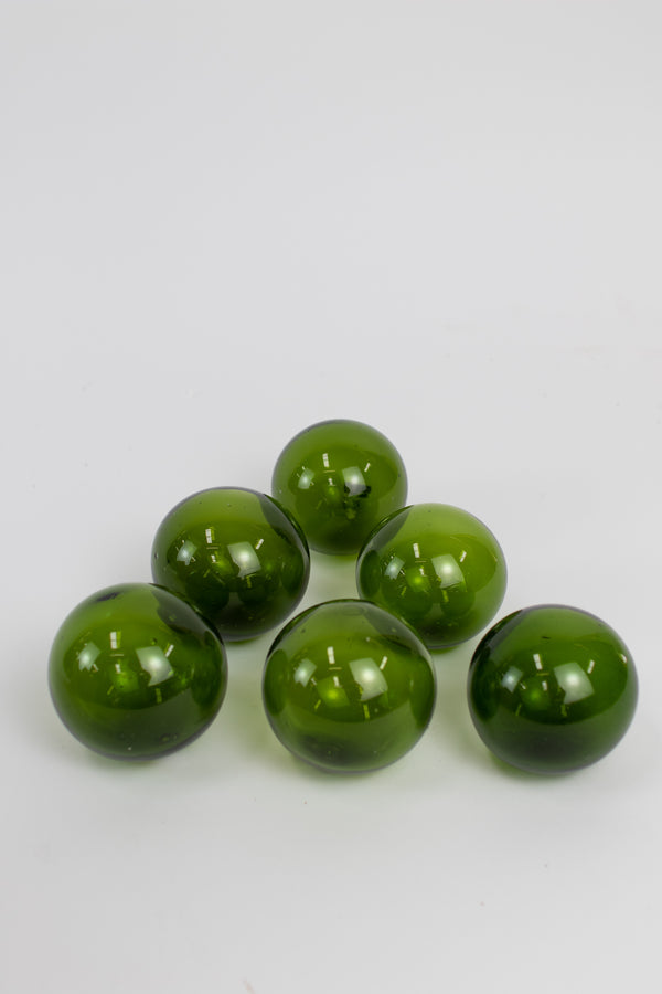 Set Of 6 Recycled Glass Balls - Green