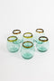 Set Of 6 Stemless Wine Glasses With Amber Rim